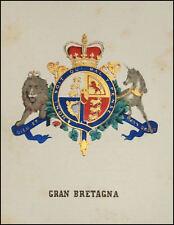 GRAN BRETAGNA: Stemma Araldico-Pagnoni 1863.Orig.Lithografia Colori.
