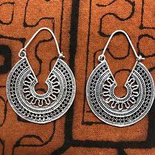Tribal Design Mini Hoop Earrings, Silver-Plated