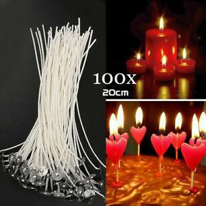 100 X Kerzendocht, Docht, 20 cm, gewachst und mit Fuß. Kerzen selbst gestalten