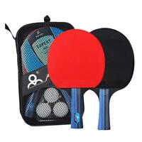 A Pair Table Tennis Ping Pong Racket Paddle Bat+3pcs Balls Bag Professional Set