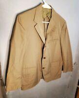 Vintage 1960s Brooks Brothers Men's Size 43 P Tan Cotton Blend Sport Coat Jacket