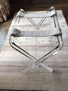 Vtg MCM Hollywood Regency Lucite Acrylic Luggage Rack Stand Table RARE HTF