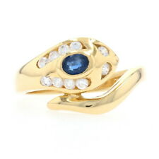 Yellow Gold Sapphire & Cubic Zirconia Snake Bypass Ring 18k Oval.53ctw Serpent