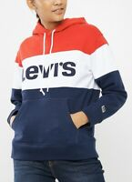 Levi's Women's Sport Hoodie Raw Cut Colorblock In Red & White & Blue