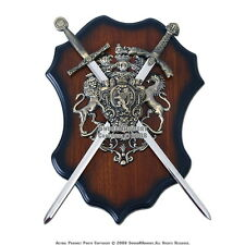 Lion Crest Coat of Arms with Two Medieval Crusader Swords Wall Display Plaque