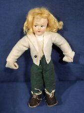 "Vtg Antique Lenci type Doll 8.75"" Norwegian Blond German Dutch Denmark Sweden"