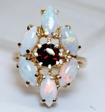 Gorgeous 14K Yellow Gold Genuine 3.75 Ct  Garnet & Opal Ring Size 5.5