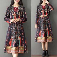 ZANZEA AU10-24 Women Casual Floral Print Plus Size Long Sleeve Party Midi Dress