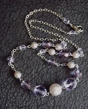 PRETTY Silver Chain Necklace with Amethyst and Pearl Coloured Beads