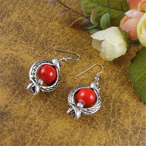 Vintage Tibetan Silver Cute Colorful Beads Hollow Dangle Ear Drop Earrings Gift