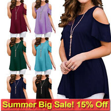 Plus Size Womens Cold Shoulder T Shirt Ladies Summer Tunic Blouse Tee Tops Size