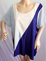 Lavish Women Plus Size 2x 3x Tan Gray Navy Blue Knit Top Blouse Shirt Geometric