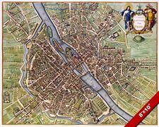 MAP OF PARIS FRANCE FROM 17th CENTURY REAL CANVAS GICLEE 8X10 FRENCH ART PRINT