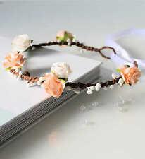 Peach Floral Crown, Rose Flower Girl Flower Crown, Bridesmaid Garland, Wedding