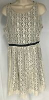 Forever 21 Button Dress Size M Black Ivory Lace Overlay Sleeveless