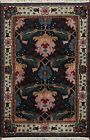 Navy Blue Geometric Agra Oriental Area Rug Hand-knotted Wool 4x7 ft Foyer Carpet