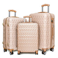"20/24/28"" Small Large Suitcase Hard Shell Travel Trolley Hand Luggage Rose Gold"
