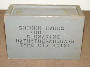 VINTAGE WWII NAVY SMOKED CARDS SUBMARINE BATHYTHERMOGRAPH TYPE CTB WOOD BOX