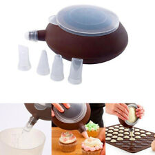 Silicone Cake Muffin Macaroon Piping icing Baking Tool Pot 4 Nozzles Set
