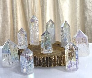Wholesale Lot 1 Lb Angel Aura Fire & Ice Quartz Obelisk Tower Point Crystal