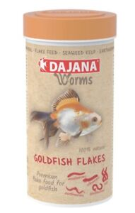 """NEW """"Worms"""" Premium Goldfish Flake food - 4 types of worm 250ml / 45g BBE 1/2022"""