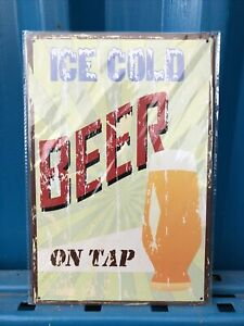 Ice Cold Beer On Tap Restaurant, Bar, Pub, Vintage, Man Cave Metal Tin Sign