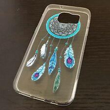 For Samsung Galaxy S7 -Soft Ultra Thin Rubber Case Cover Blue Clear Dreamcatcher
