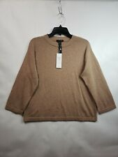 EILEEN FISHER Women's 100% cashmere Tan crew Size XS/TP NEW