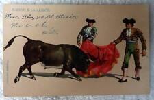 POSTCARD MEXICO SUERTE A LA ALIMON TWO BULLFIGHTERS MATADOR BULL #84
