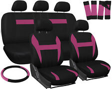 SUV Van Truck Seat Cover Pink Black 17pc Set w/Steering Wheel/Belt Pad/Head Rest