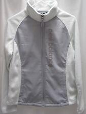 NEW BALANCE women ivory mint poly front zipper fleece sweatshirt jacket, sz S/M