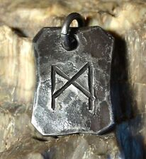 Mannaz Forged Rune Pendant Necklace Viking Futhark Jewel Steel Iron Norse Amulet