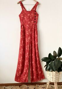 ZARA boho red paisley long overalls dungarees sz M (tall) | ex cond