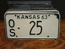 VINTAGE 1963 KANSAS LICENSE PLATE TAG# OS 25 OSAGE COUNTY AUTO CAR TAG