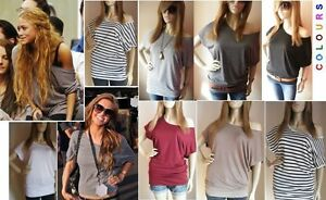 OFF THE SHOULDER BATWING LONG TOP T. SHIRT SHORT SLEEVES 6 8 10 12 14 16 18