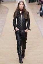 Chloe Fall 2016 Black Leather Jumpsuit Catsuit sz 40 US 6 Emma Peel
