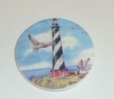 """Black & White Lighthouse & Sea Birds on MOP - Mother Pearl Shank Button 1-3/8"""""""