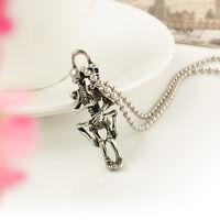 Stainless Steel Skeleton Skull Couple Infinity Tibet Silver Pendant Necklace