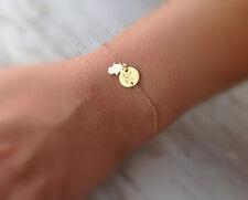 14k Yellow Gold Filled Monogram Initial Bracelet HAMSA Personalized Jewelry