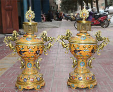 "26"" A pair china Cloisonne Enamel Gild Palace Dragon Fish Crane Incense Burner"