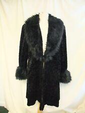 Ladies Coat Emma Somerset XL, black Persian faux fur & shaggy collar/cuffs 2069
