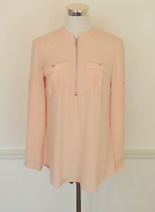 New York & Company 7th Ave Womens S Blush Pink Blouse Zipper Front