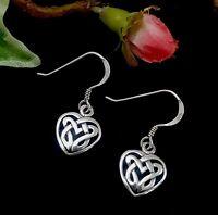 CELTIC Love Knot Solid Sterling Silver Dangle Heart Earrings 29x17mm NEW 3.45g
