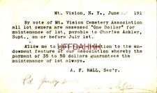 """1918 MT. VISION CEMETERY ASSOC. ASSESSES """"ONE DOLLAR"""" FOR MAINTENANCE A F Hall"""
