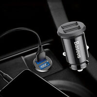3.1A Mini Dual USB Car Phone GPS Charger Cigarette Lighter Adapter Accessories