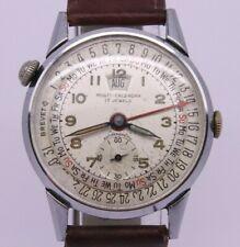 VINTAGE Muralt Multi Calendar Mens 34mm Steel Back Triple Date Watch Brevet