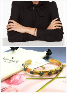 NEW Kate Spade 12K Gold Plated Tag Along Jet Faux Pearl Studded Cuff Bracelet