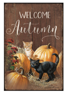 """Welcome Autumn-Cats 12"""" x 18"""" Wood Sign by Persis Clayton Weirs"""