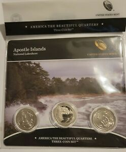 2018 America the Beautiful Apostle IslandsMint Issue 3 Coin Set