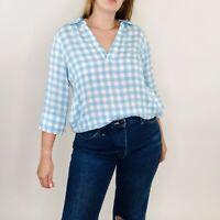 Soft Surroundings Al Fresco Blue Gingham Plaid Collar Tunic Blouse Small Womens